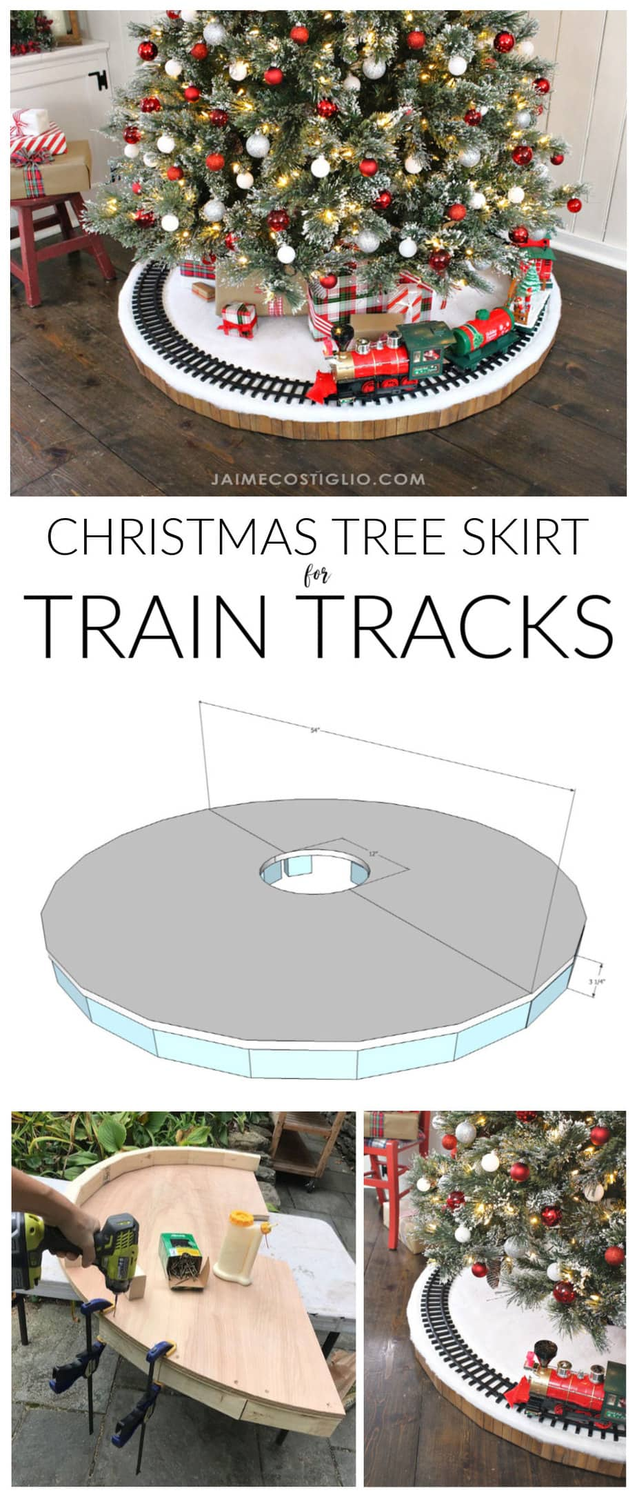 diy train track tree skirt free plans
