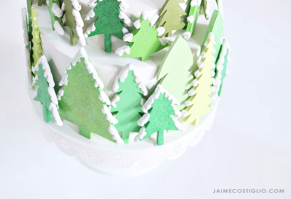 fake cake centerpiece with trees
