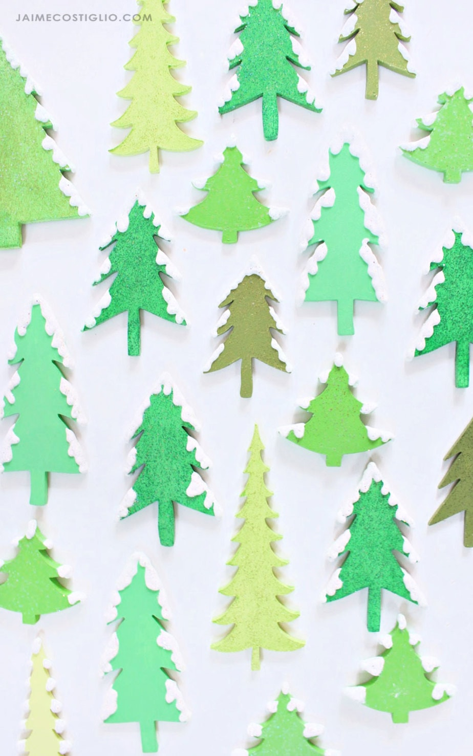 wood cut out trees painted green