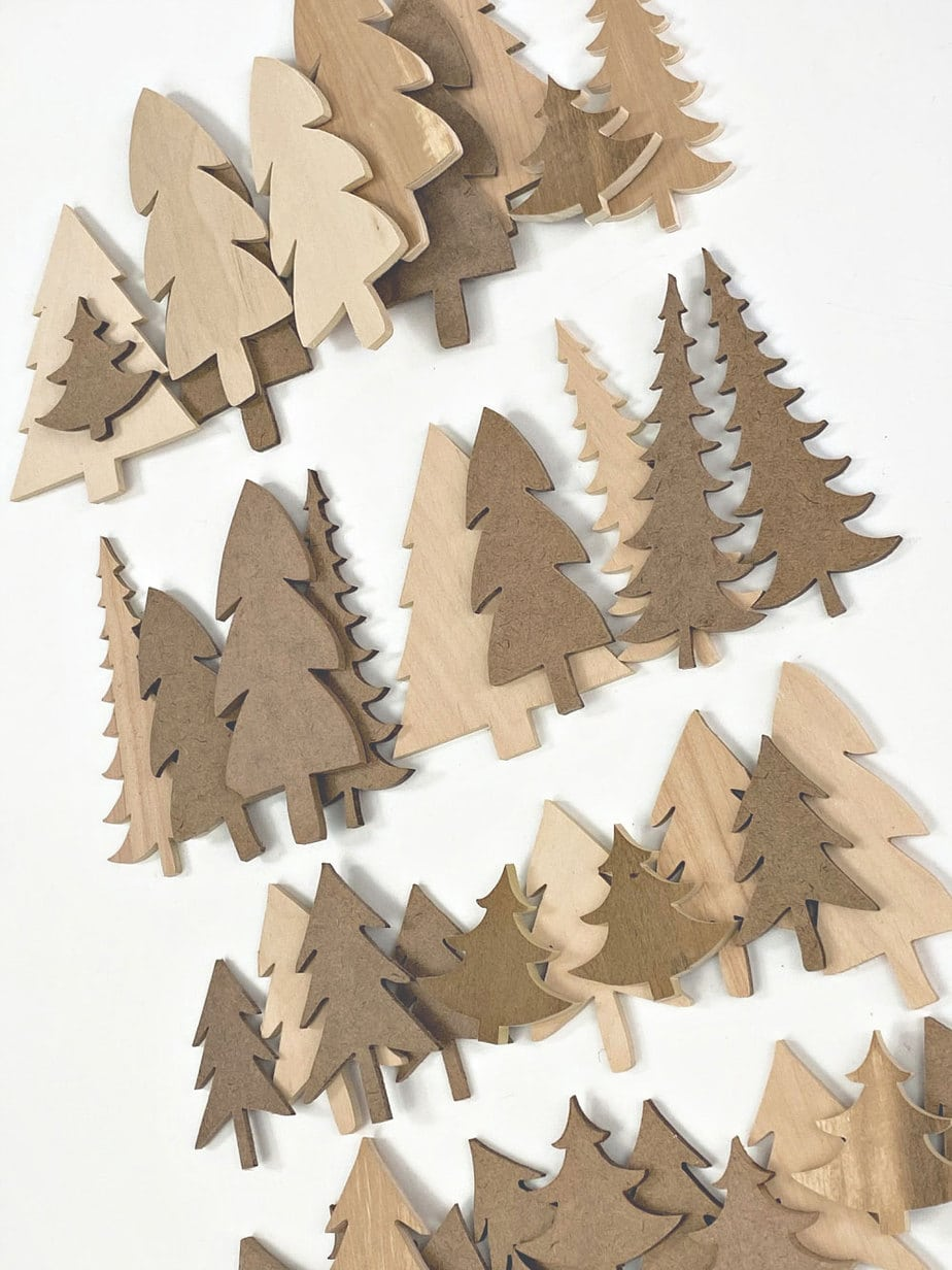 wood and MDF cut out trees
