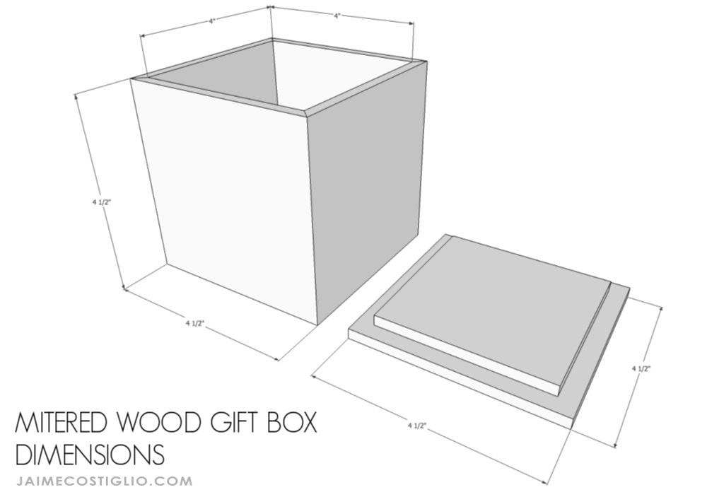 mitered wood gift box dimensions
