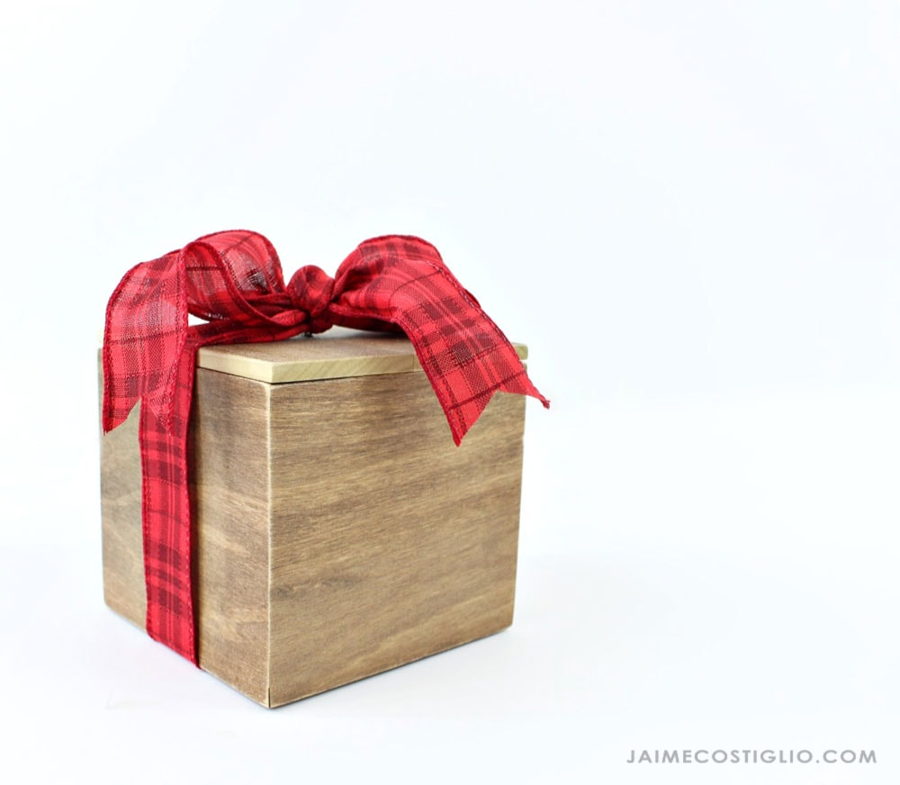 ribbon on wood gift box