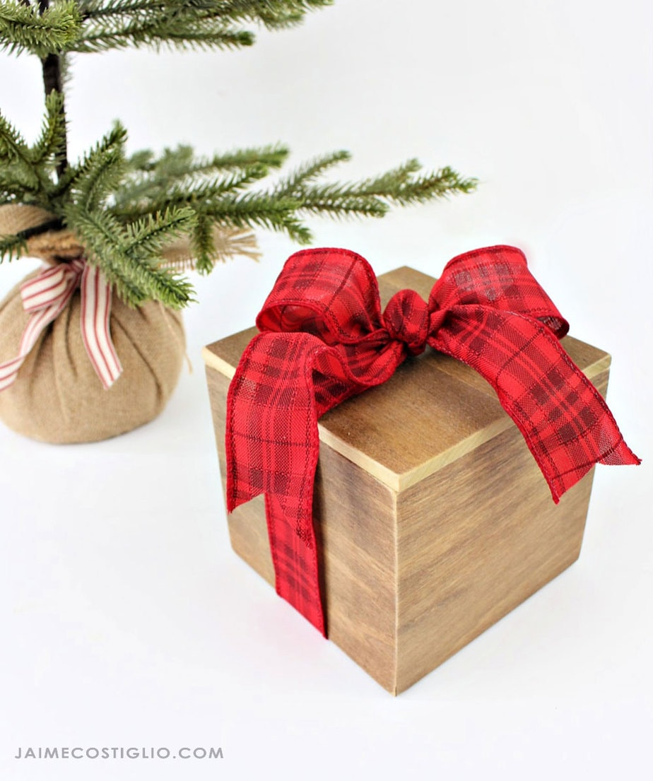 wood gift box with ribbon