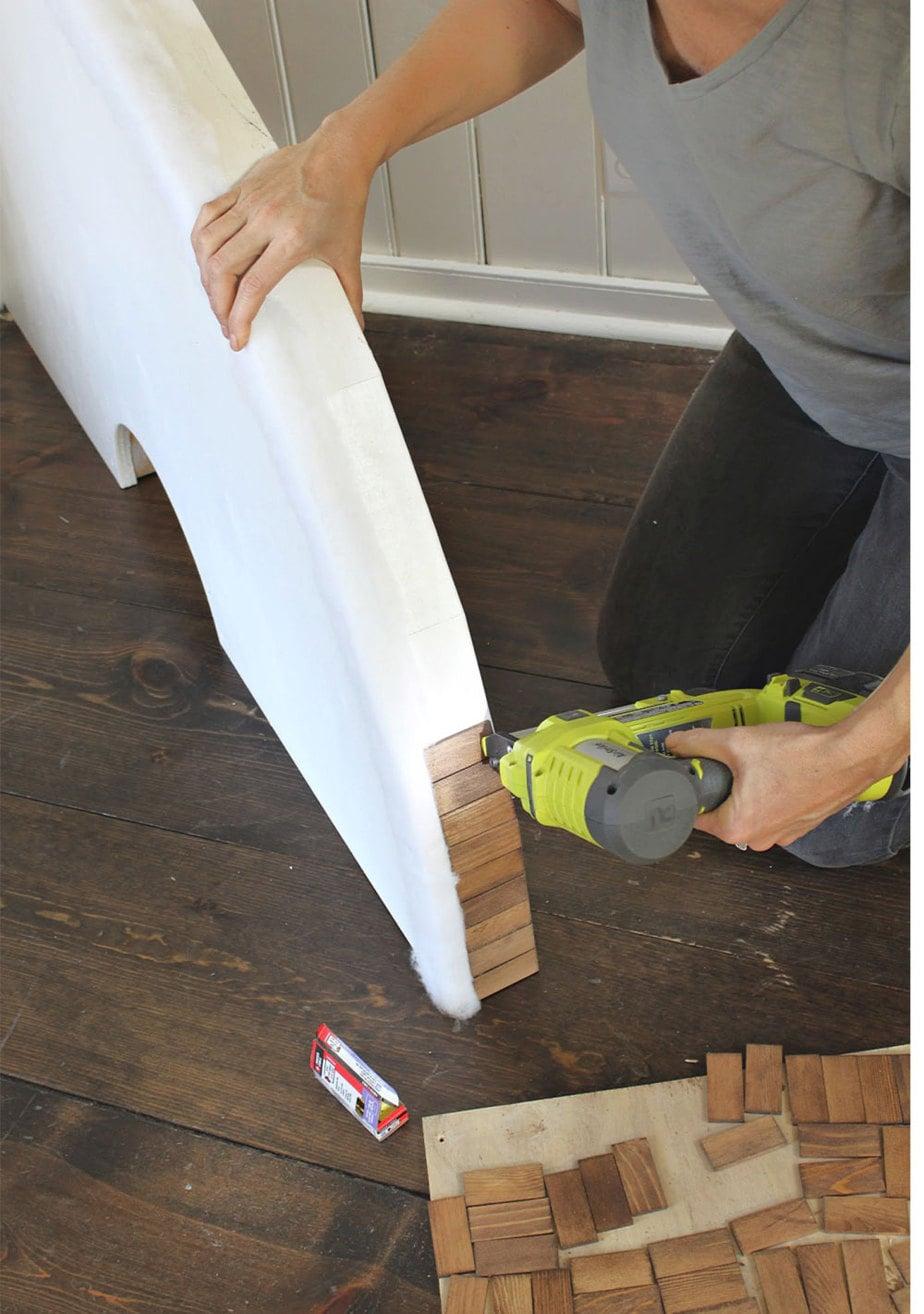 attaching wood trim to tree skirt