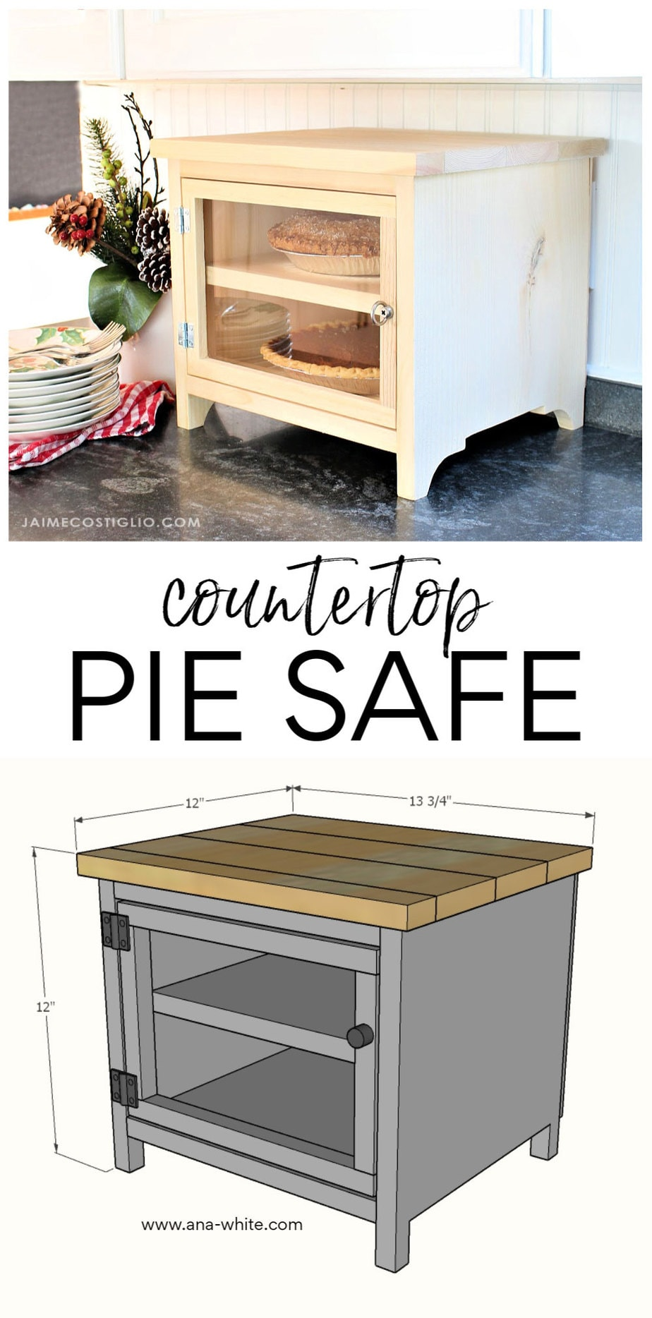 diy countertop pie safe free plans