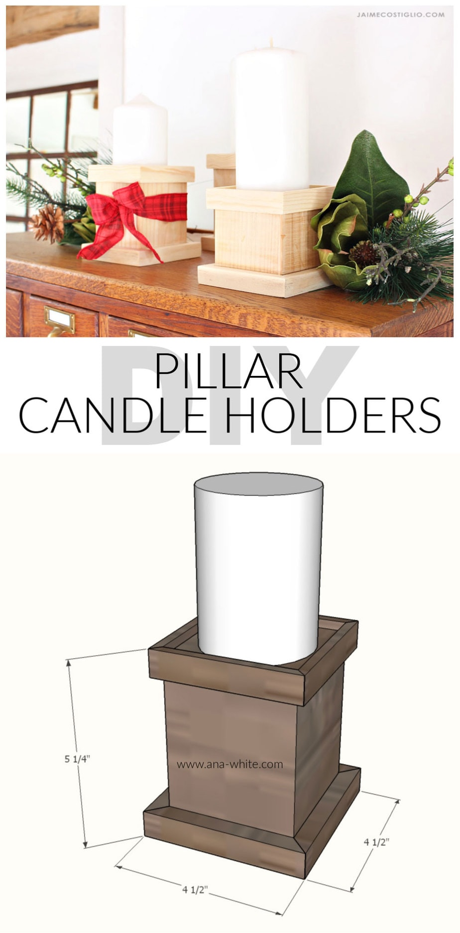 diy wood pillar candle holders free plans