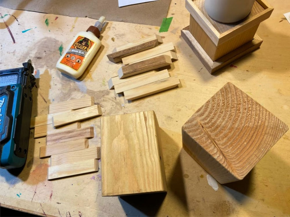 wood candle holder parts