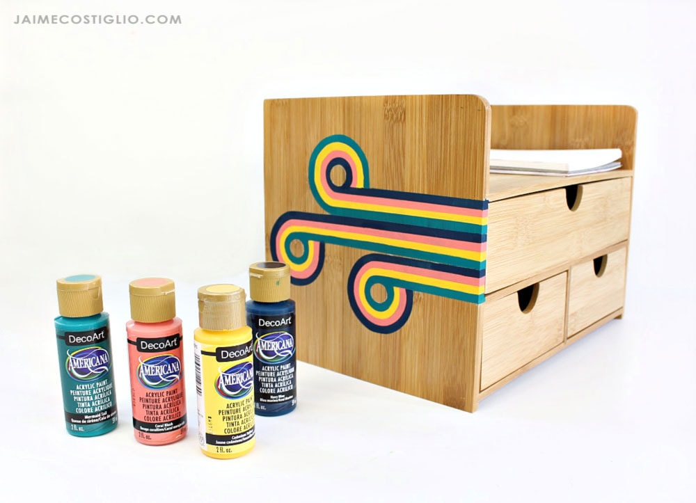 painted wood organizer