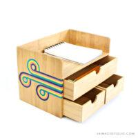 bamboo desk organizer with retro design