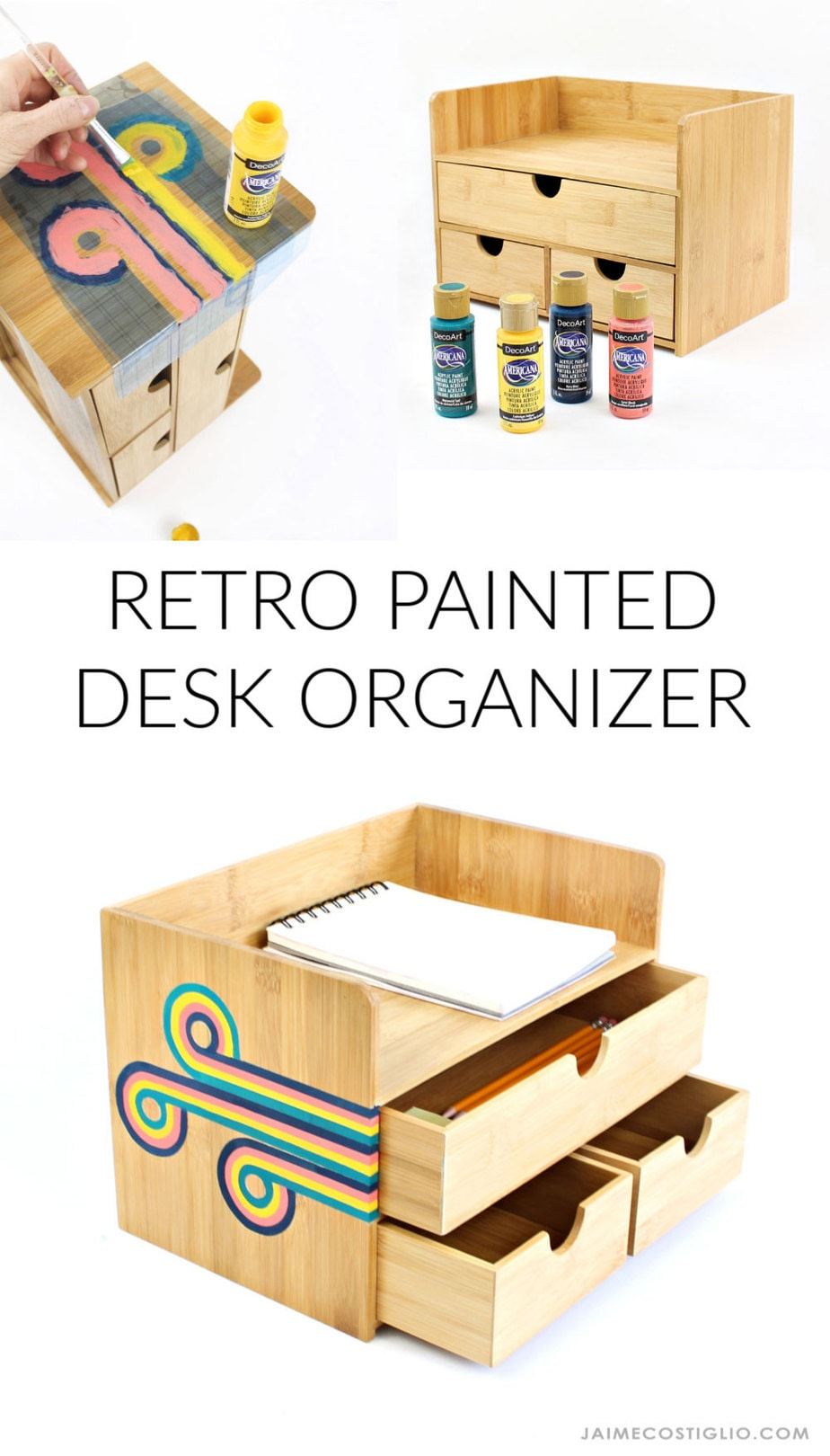 diy retro painted desk organizer project