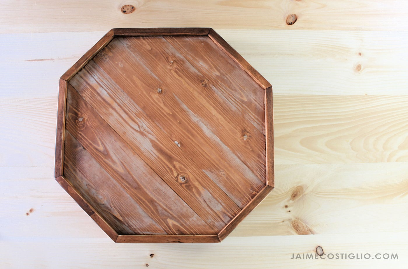 wood octagon serving tray
