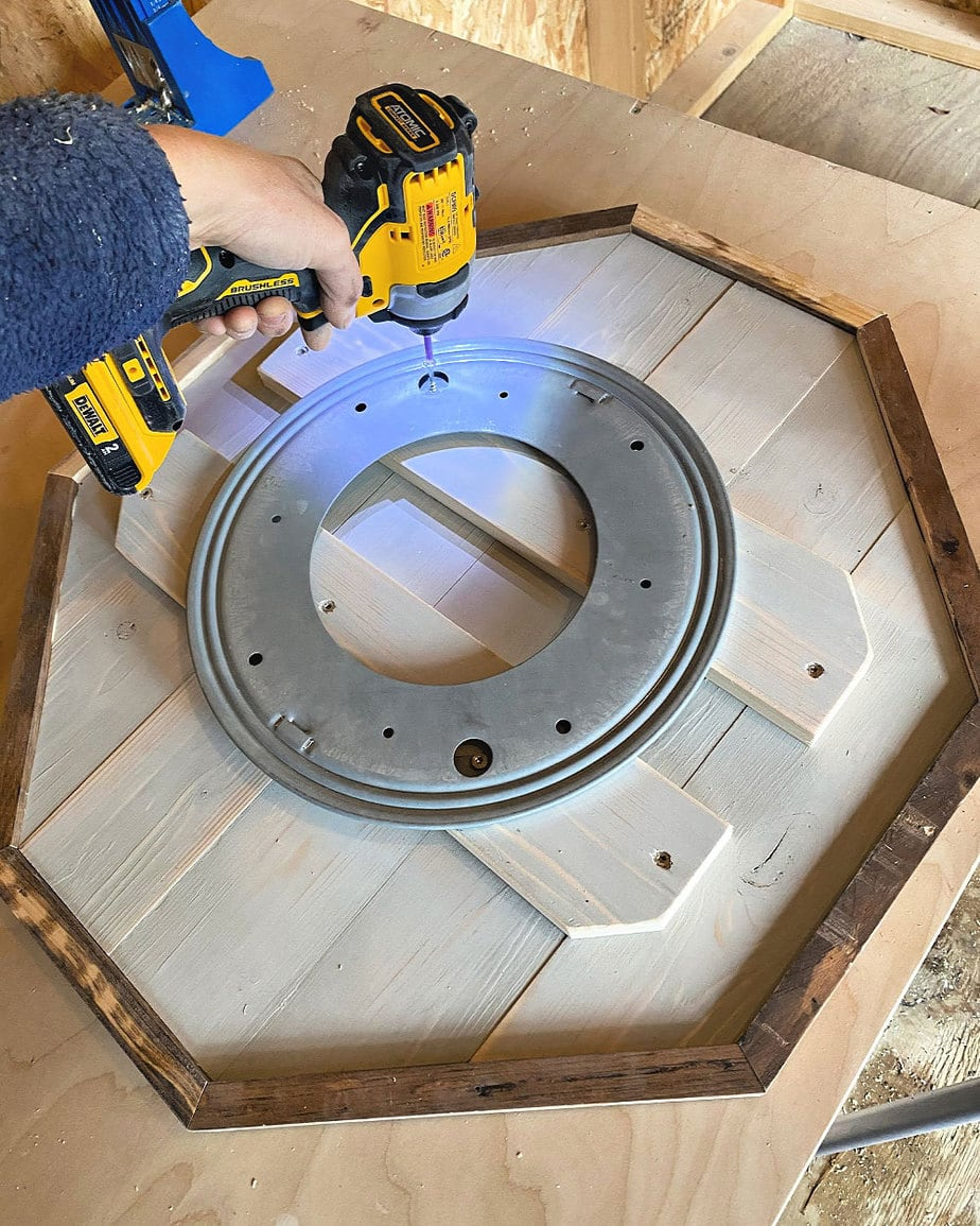 attaching lazy susan hardware to wood base