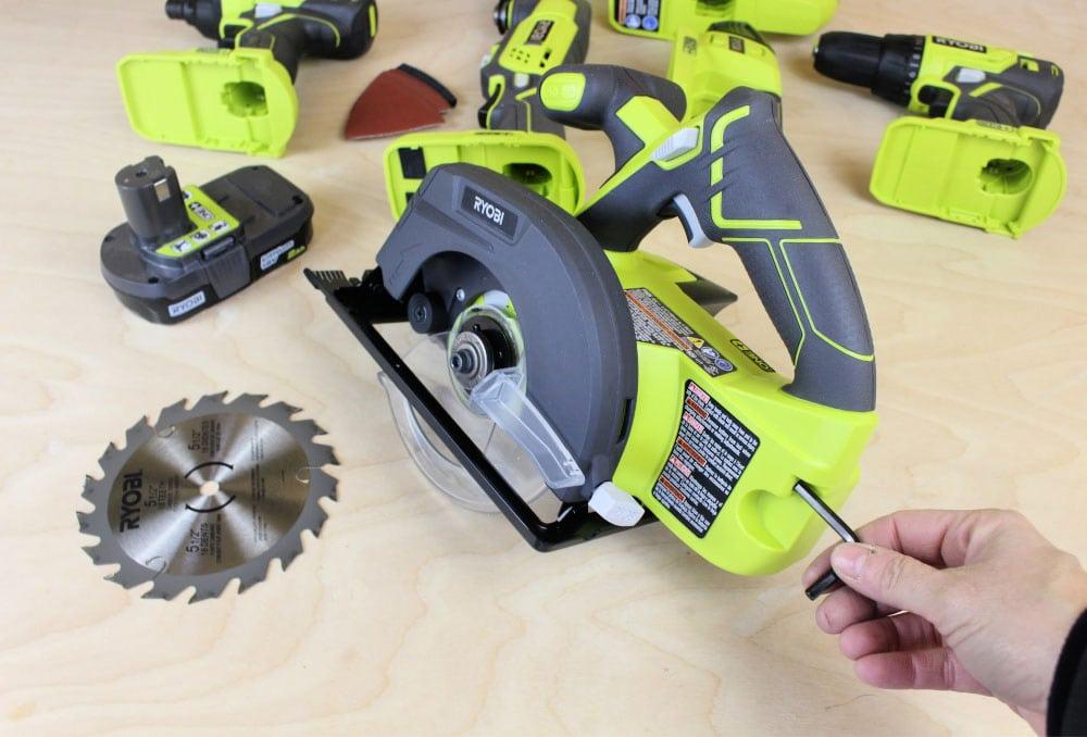 onboard wrench storage Ryobi circular saw
