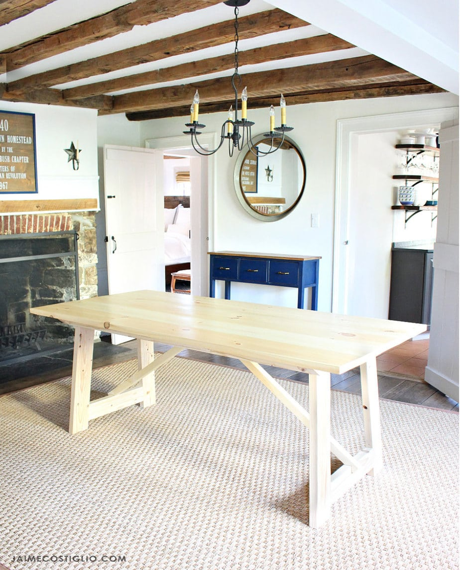 antique farmhouse dining room exposed beams