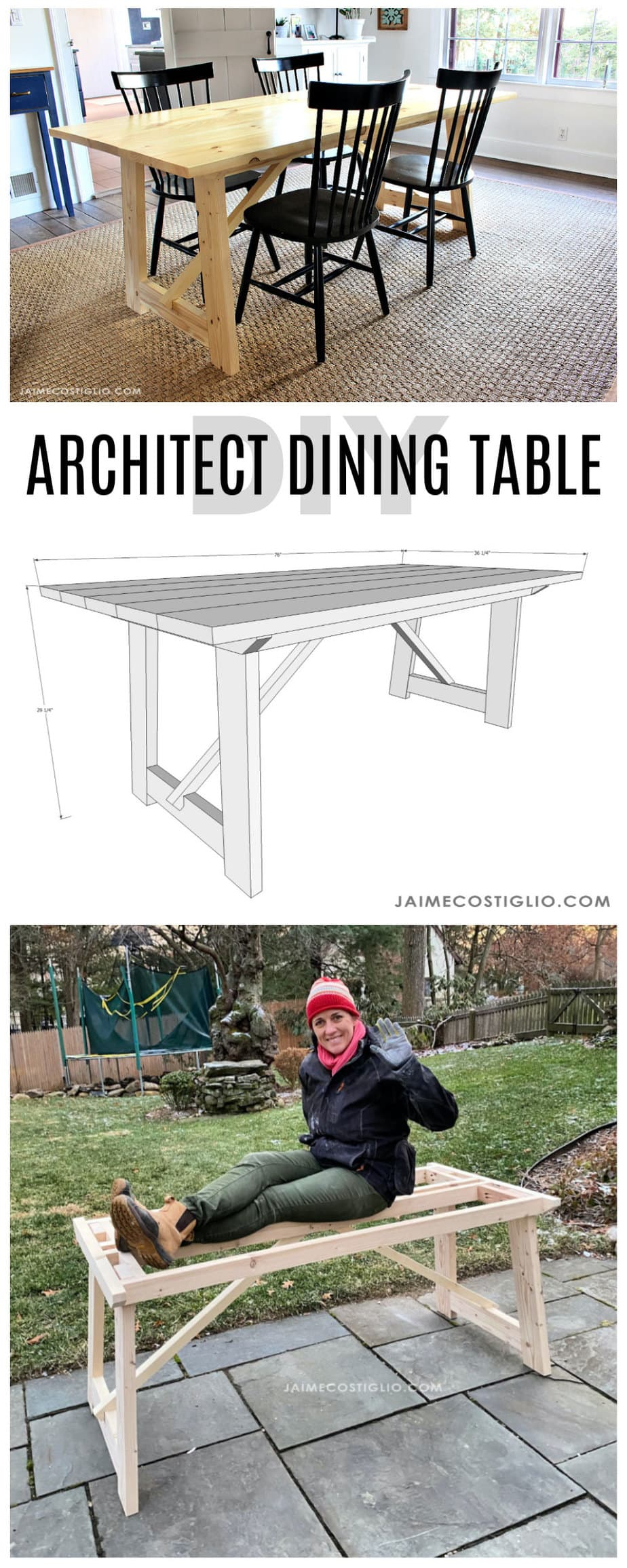 diy architect dining table free plans