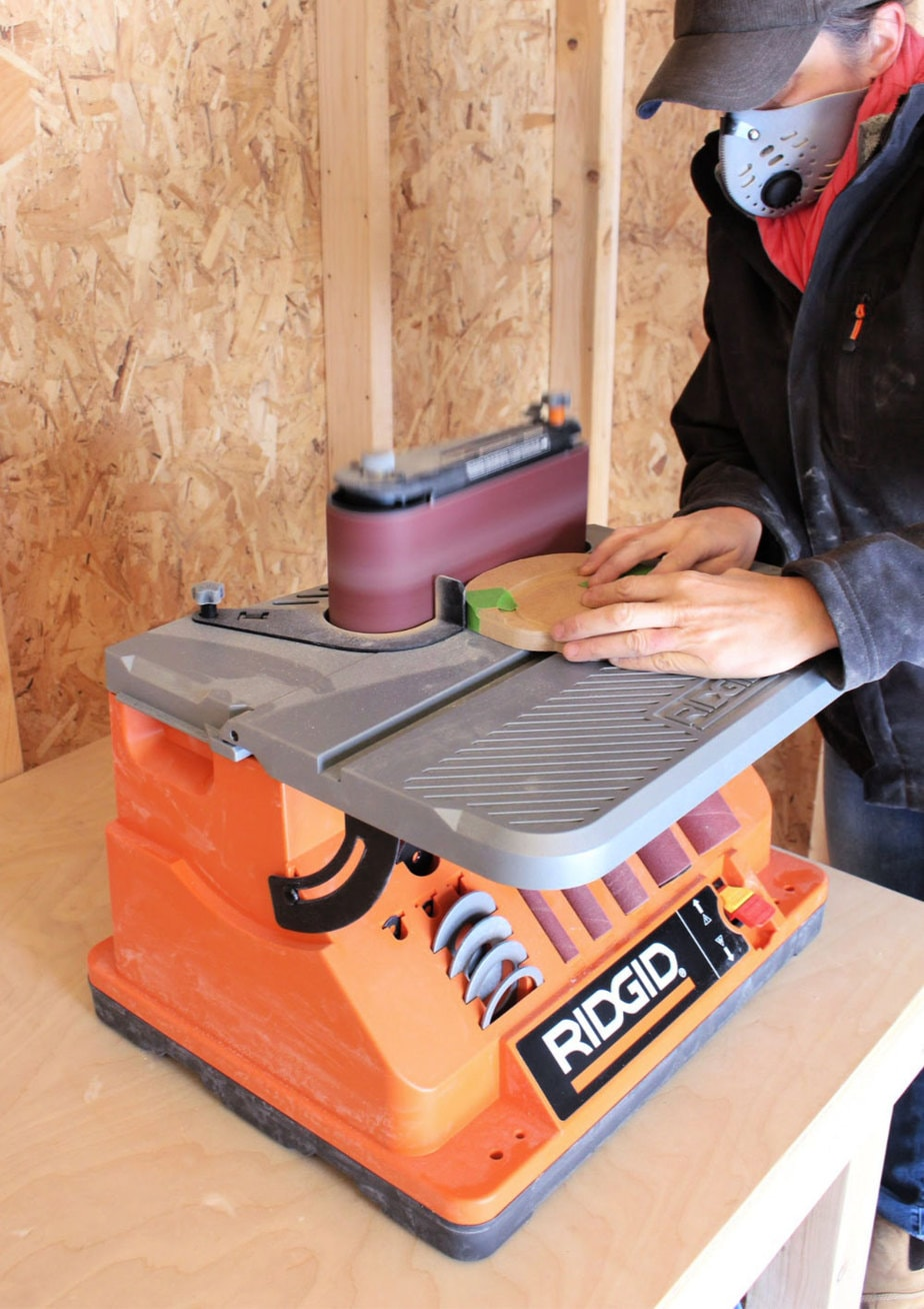 belt sander in action