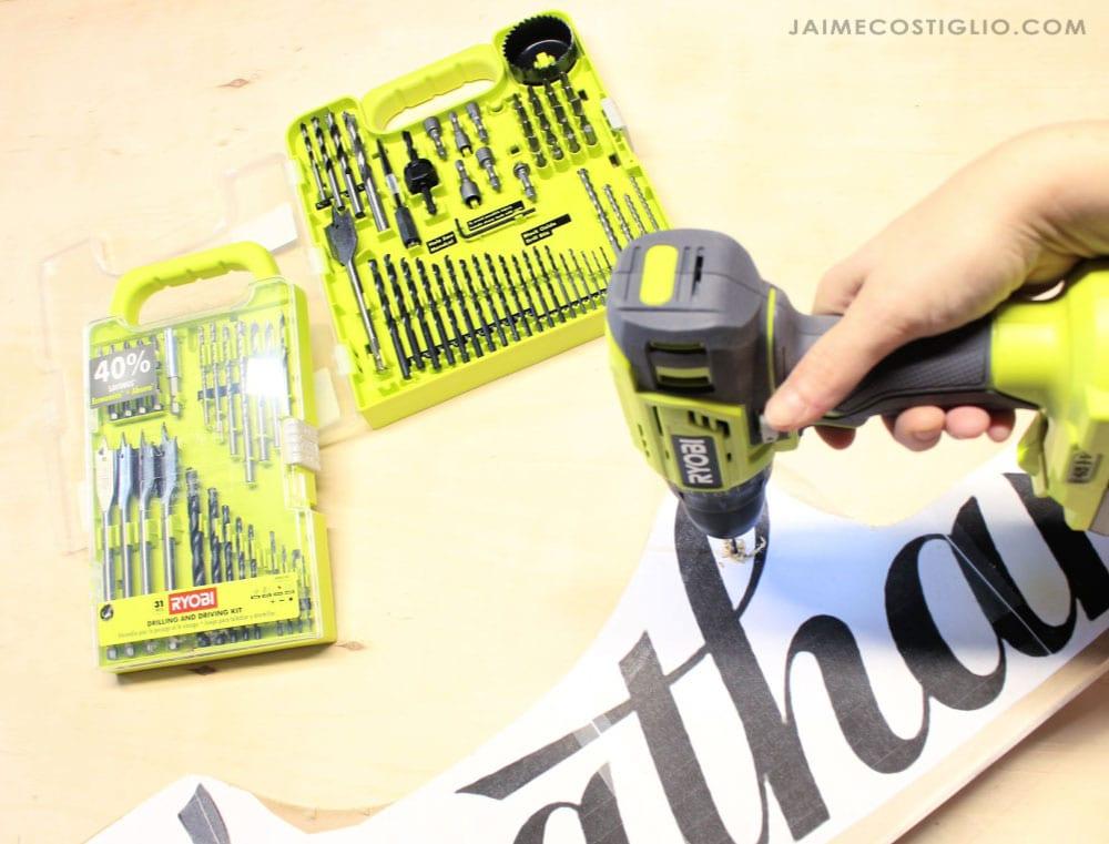 ryobi drill and bits