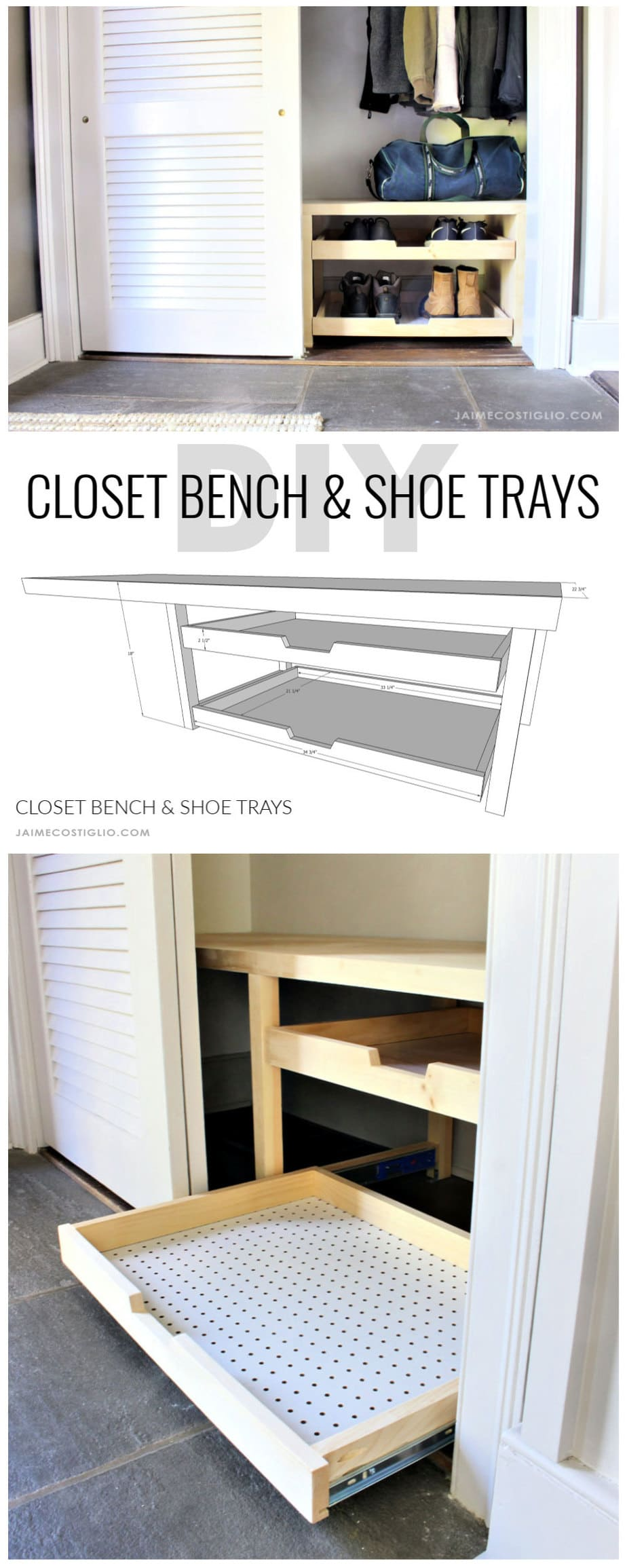 closet bench and shoe trays free plans