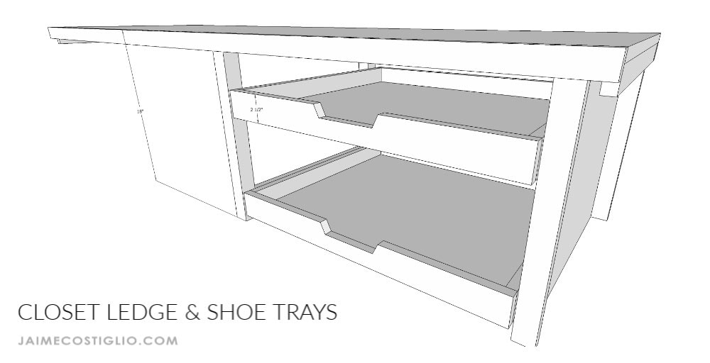 closet bench shoe trays dimensions