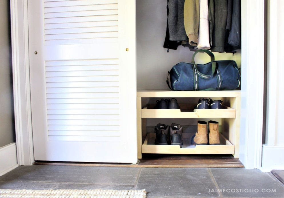shoe storage trays in closet