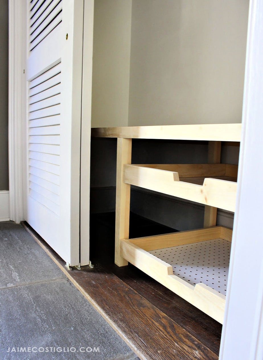 sliding closet doors with pull out trays