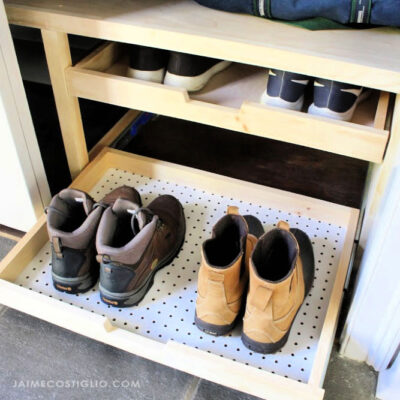 closet makeover with shoe trays