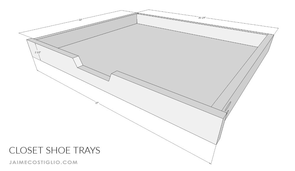 closet shoe trays dimensions