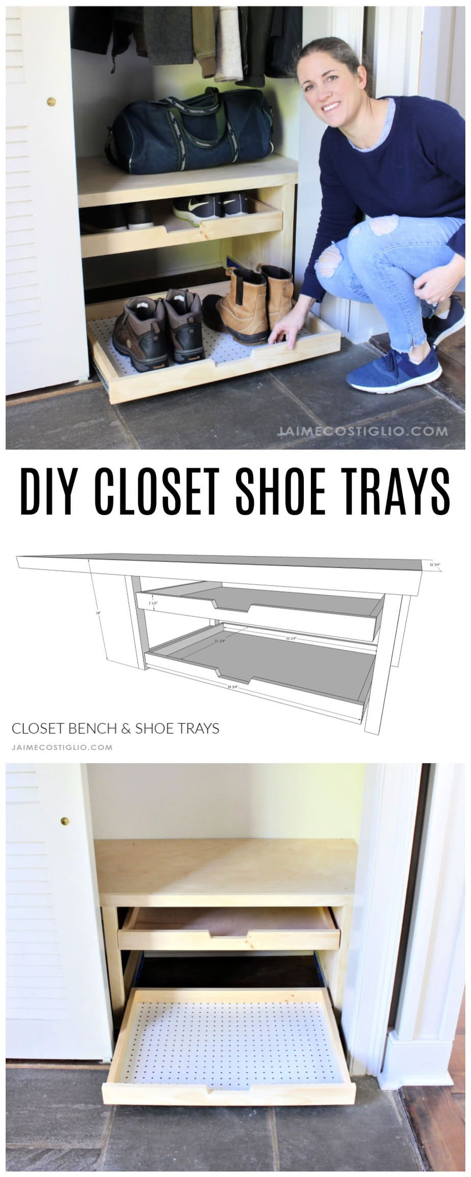 diy closet shoe trays