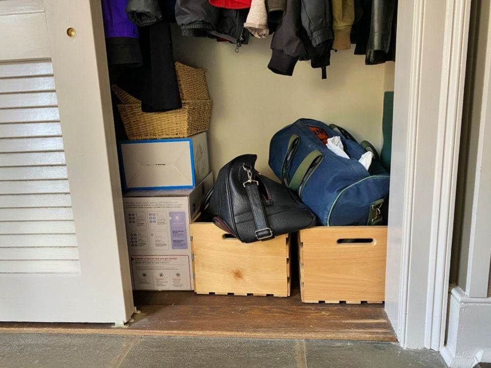 non functional shoe storage in closet