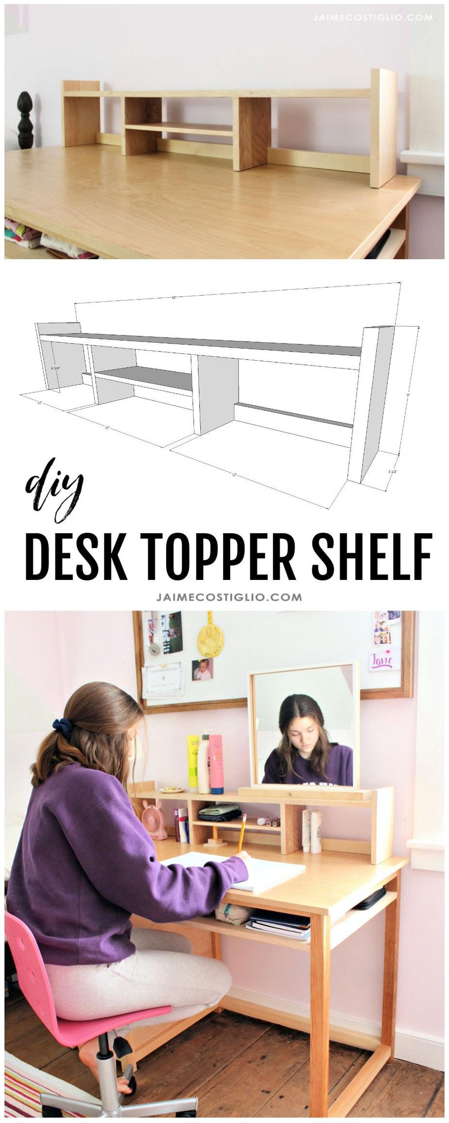diy desk topper shelf collage