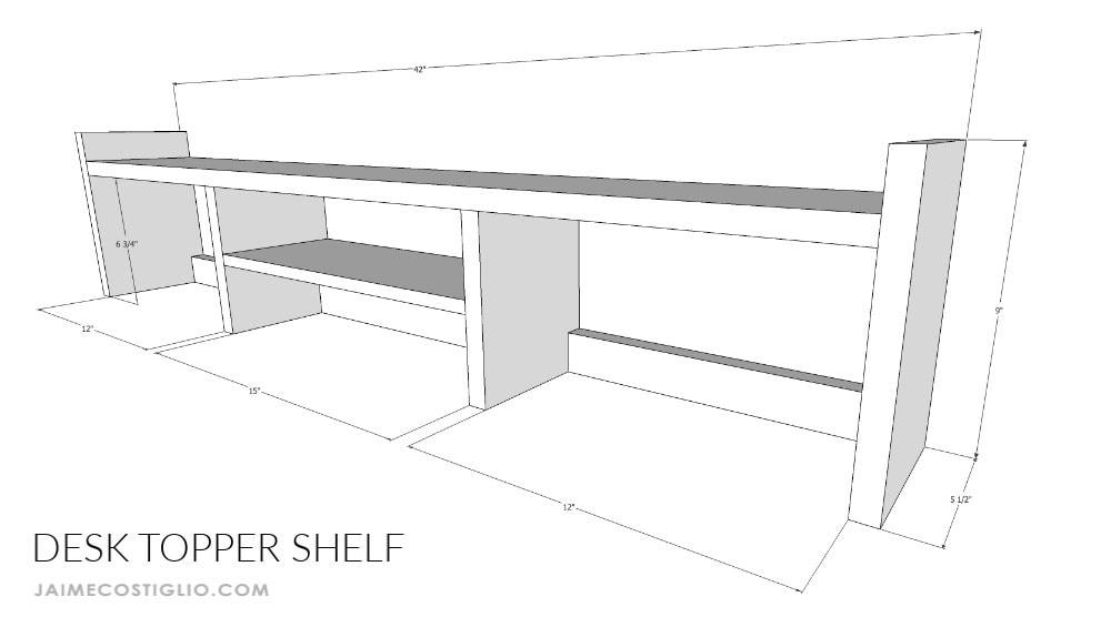 desk topper shelf dimensions