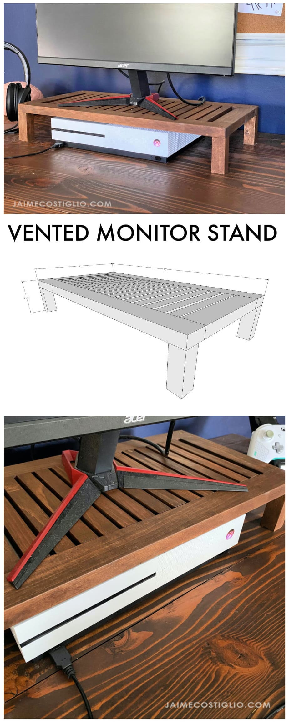 vented monitor stand with slats