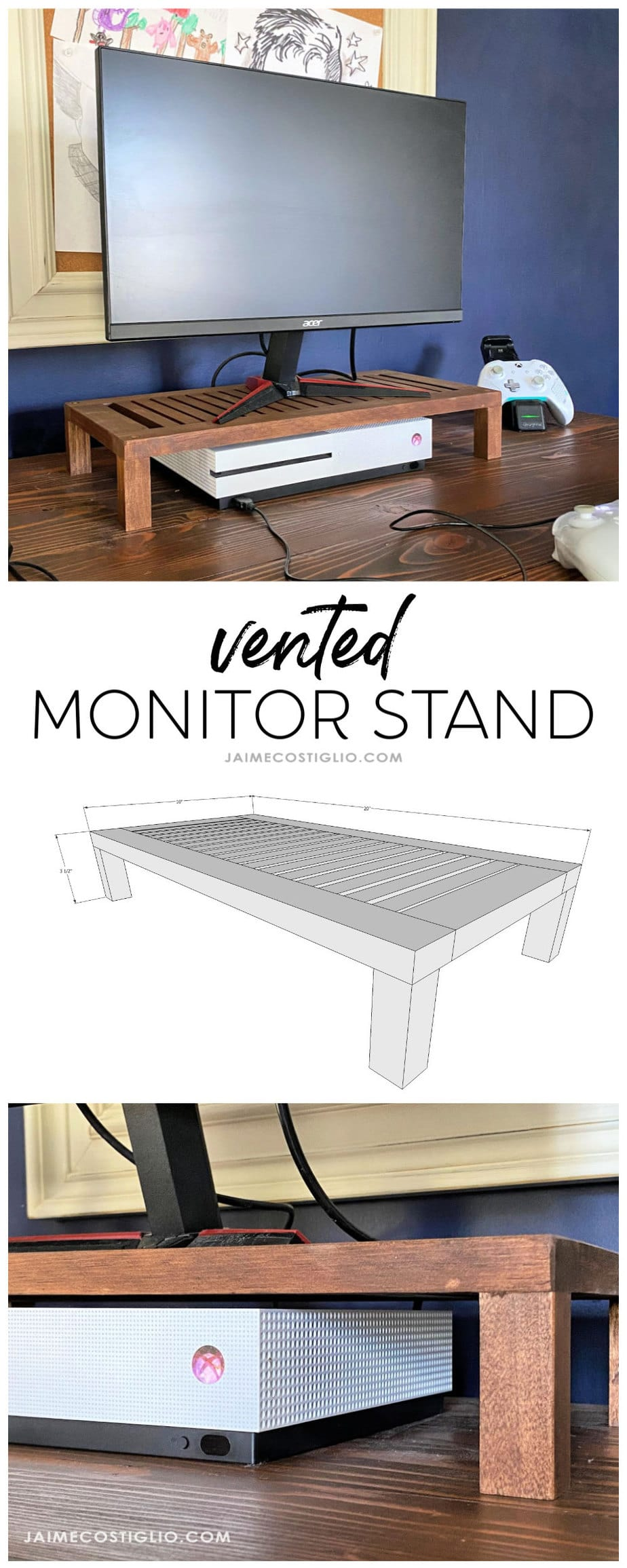 vented monitor stand plans