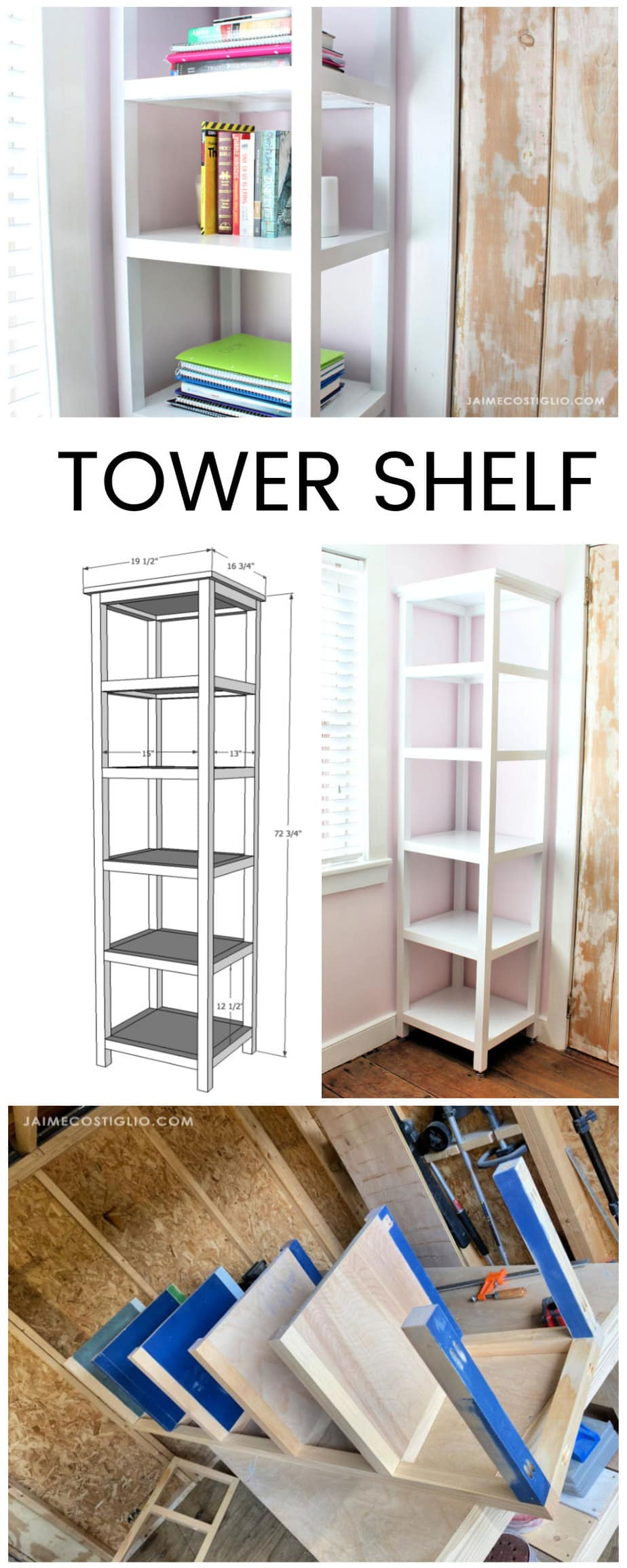diy tower shelf free plans
