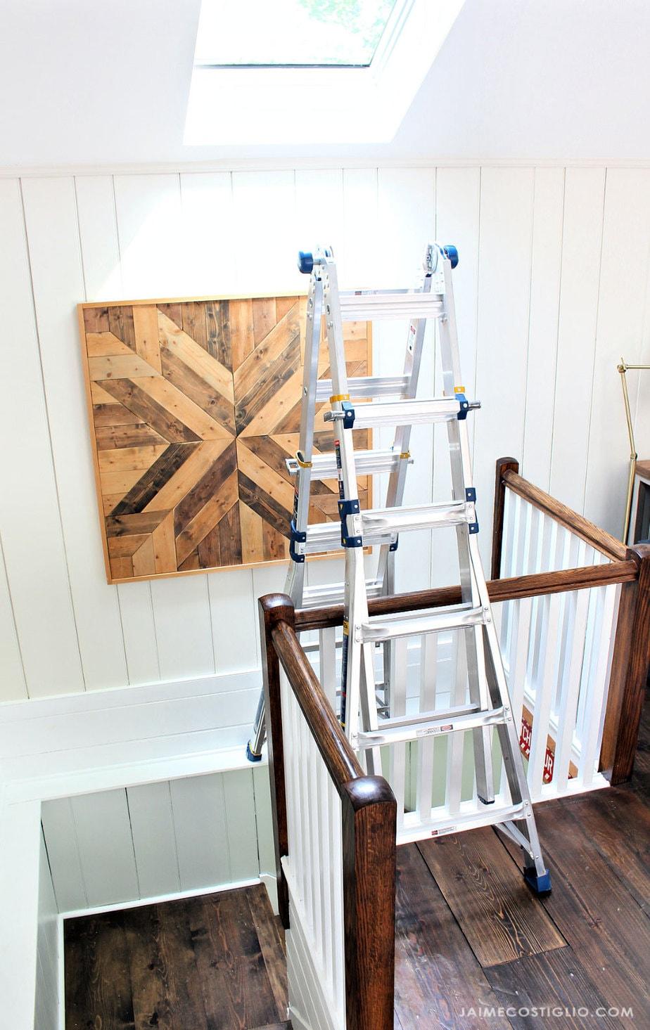 ladder over open stairway