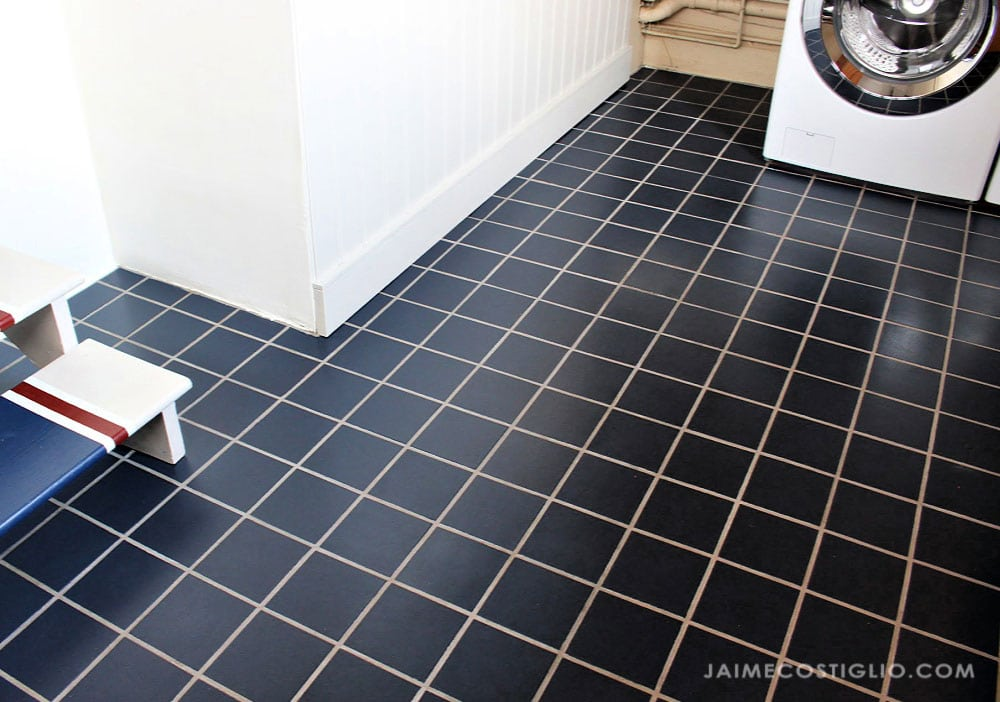 painted laundry room tile