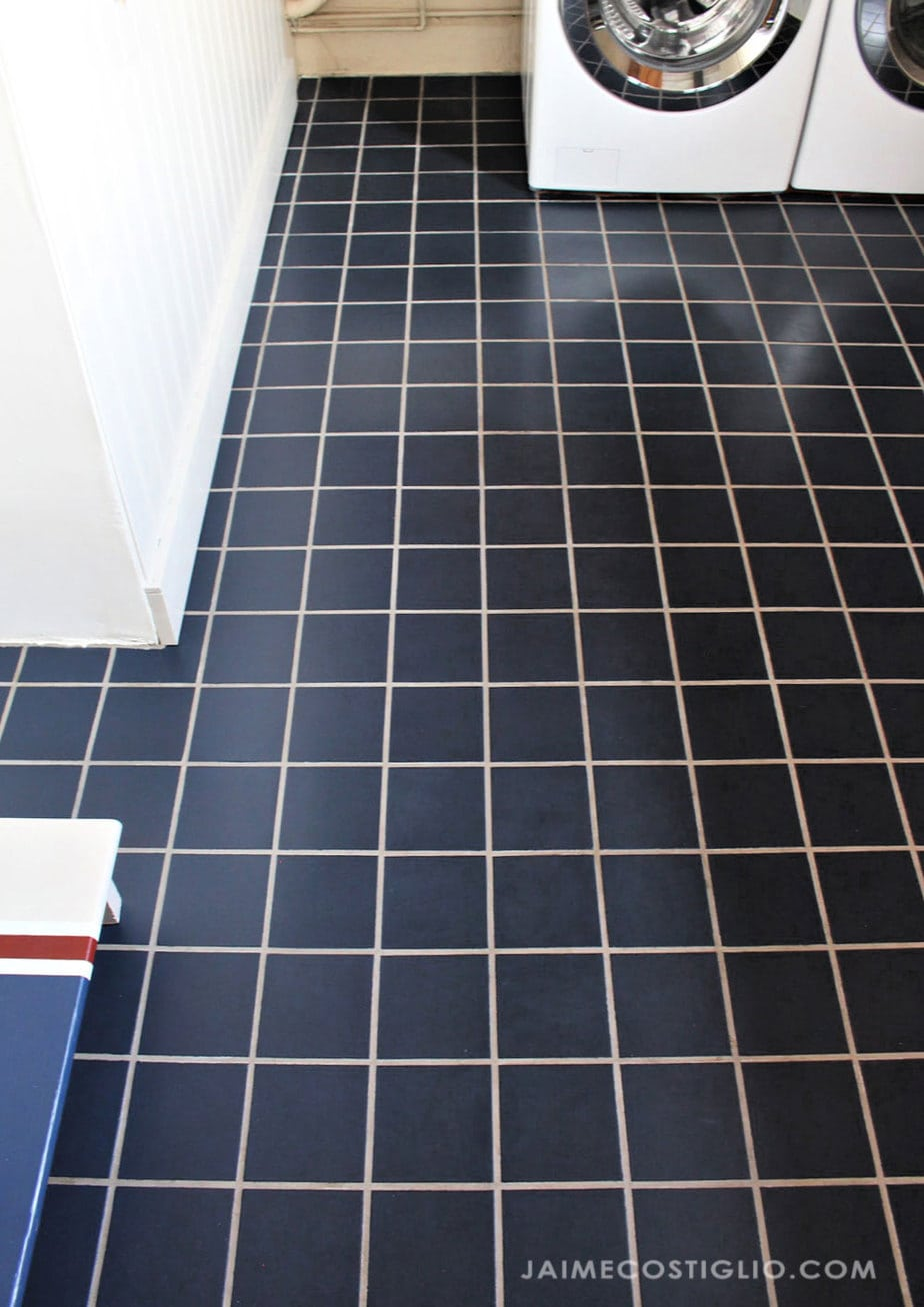 painted tile with original grout