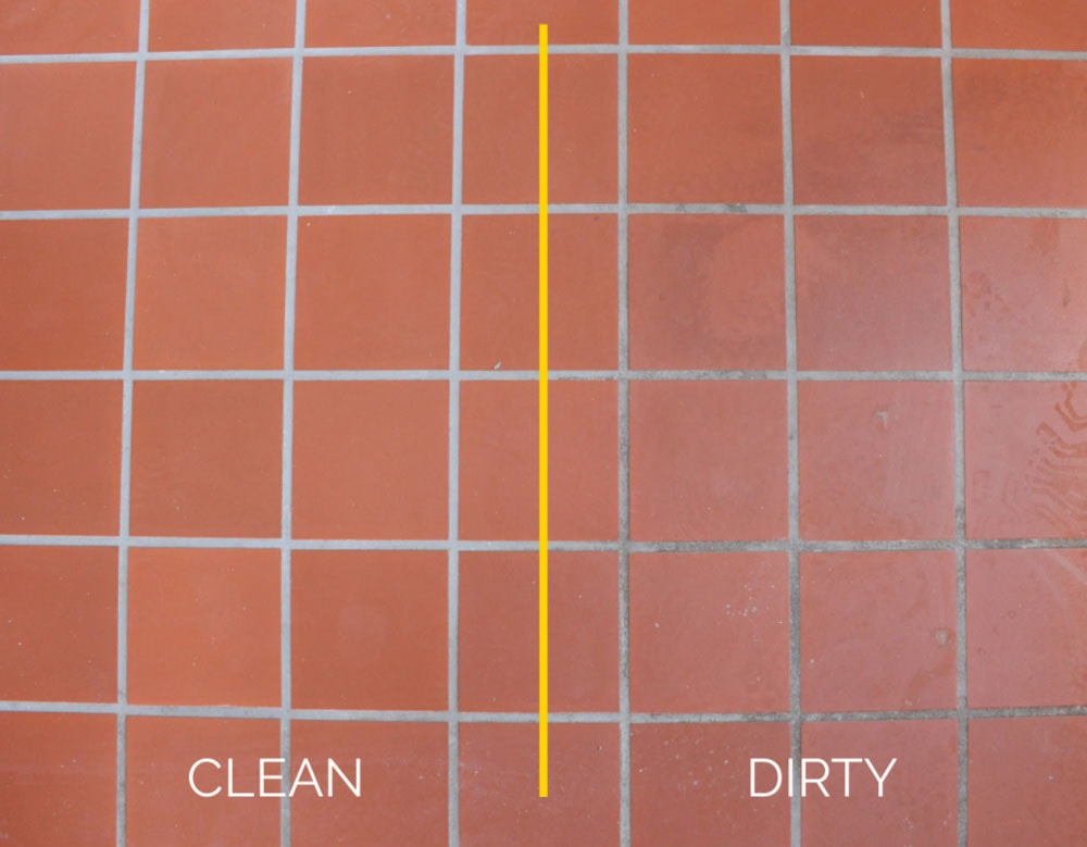 clean versus dirty tile
