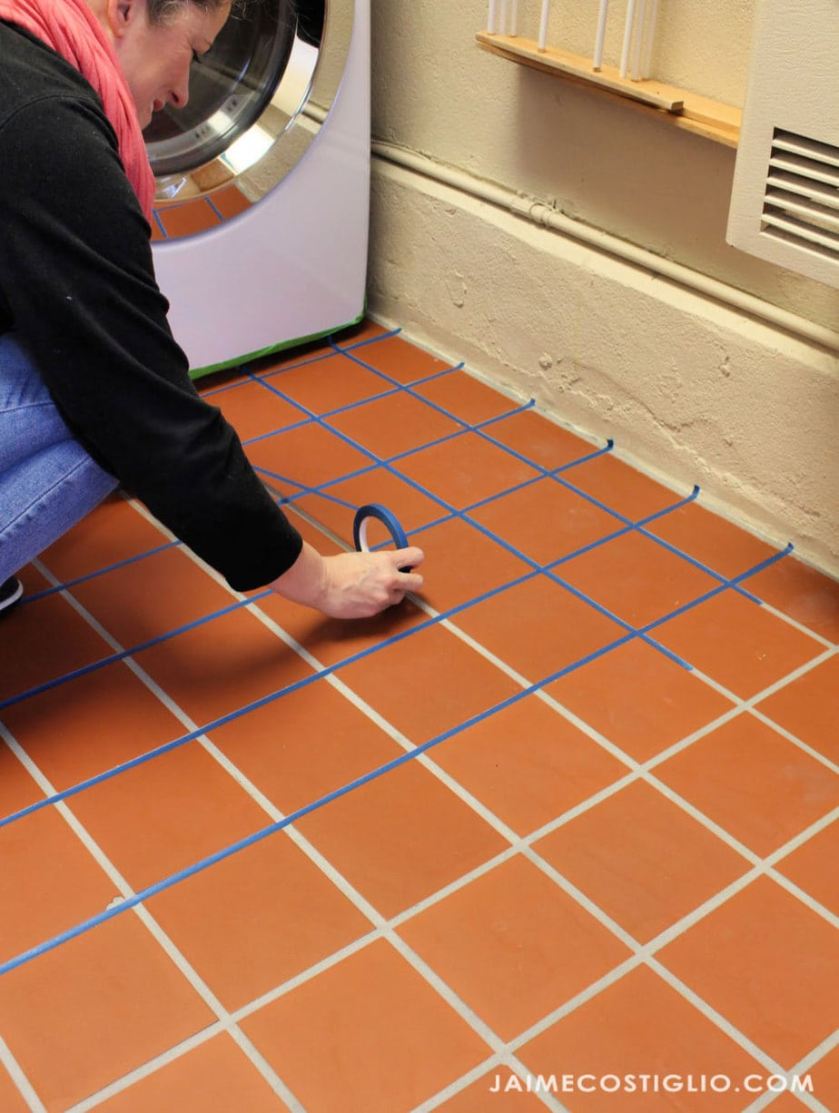 masking grout with painters tape