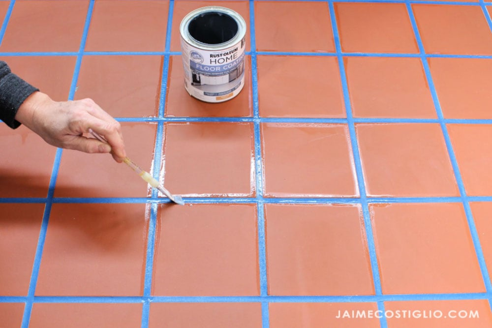 seal tape to tile with clear coat