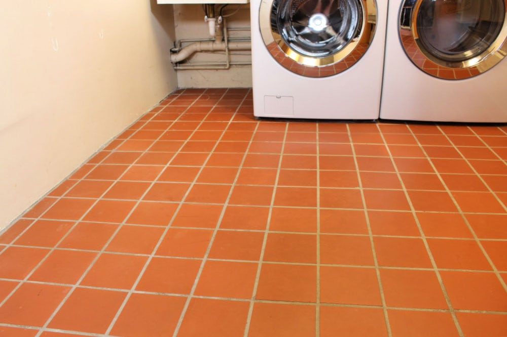 laundry room floor tile before