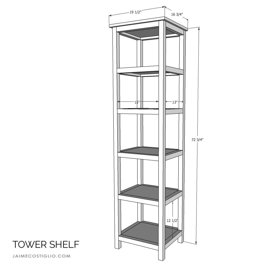 tower shelf dimensions