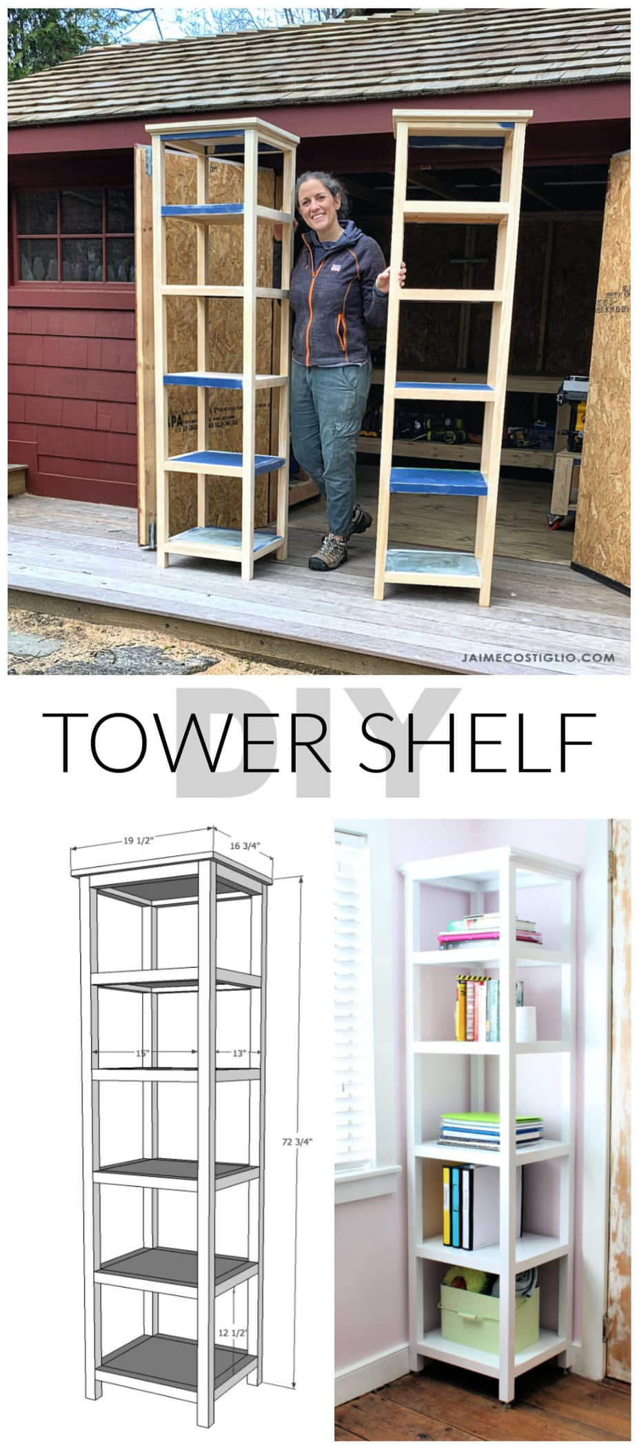 tower shelves free plans