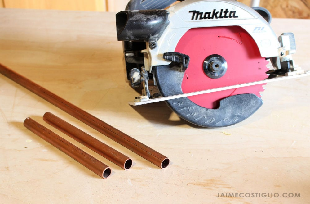 cut copper piping
