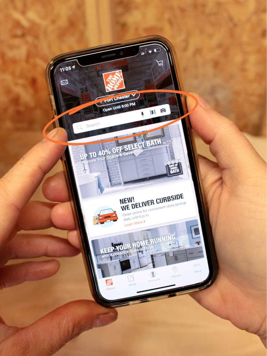 Home Depot mobile app search bar