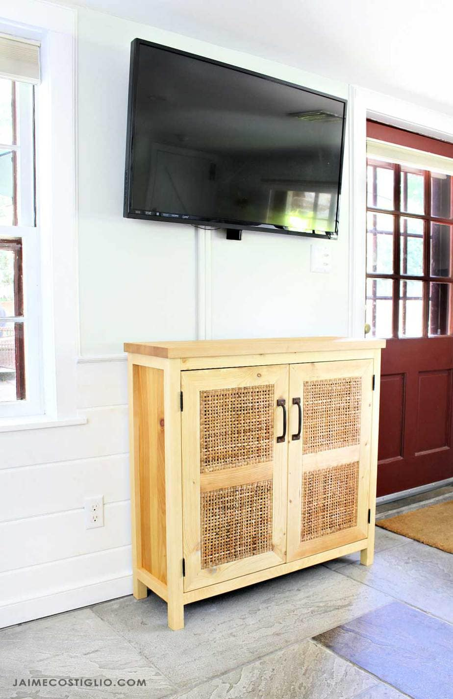 rattan console under tv