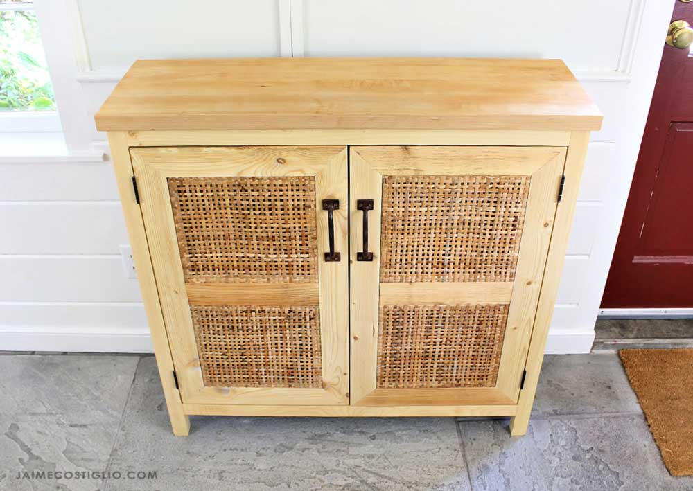 diy rattan console with doors