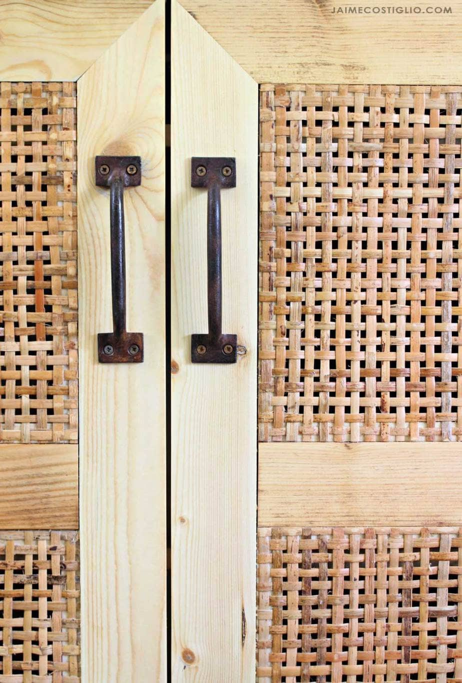 rustic pulls with rattan doors
