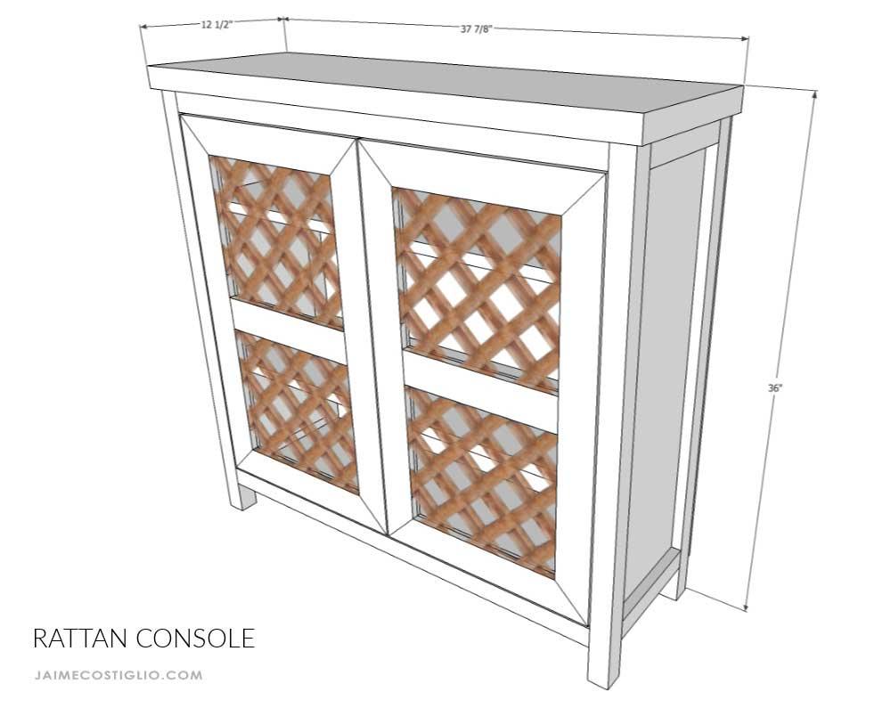 rattan console dimensions