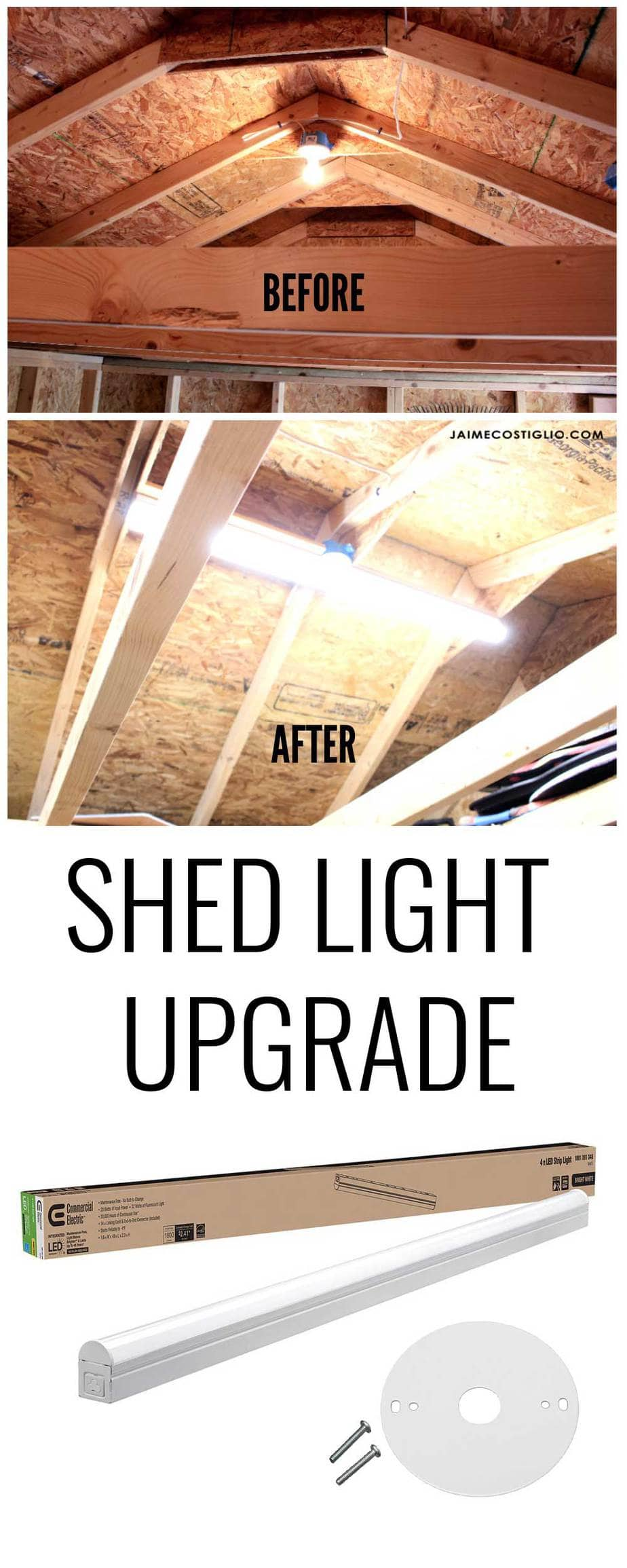 diy shed strip lights